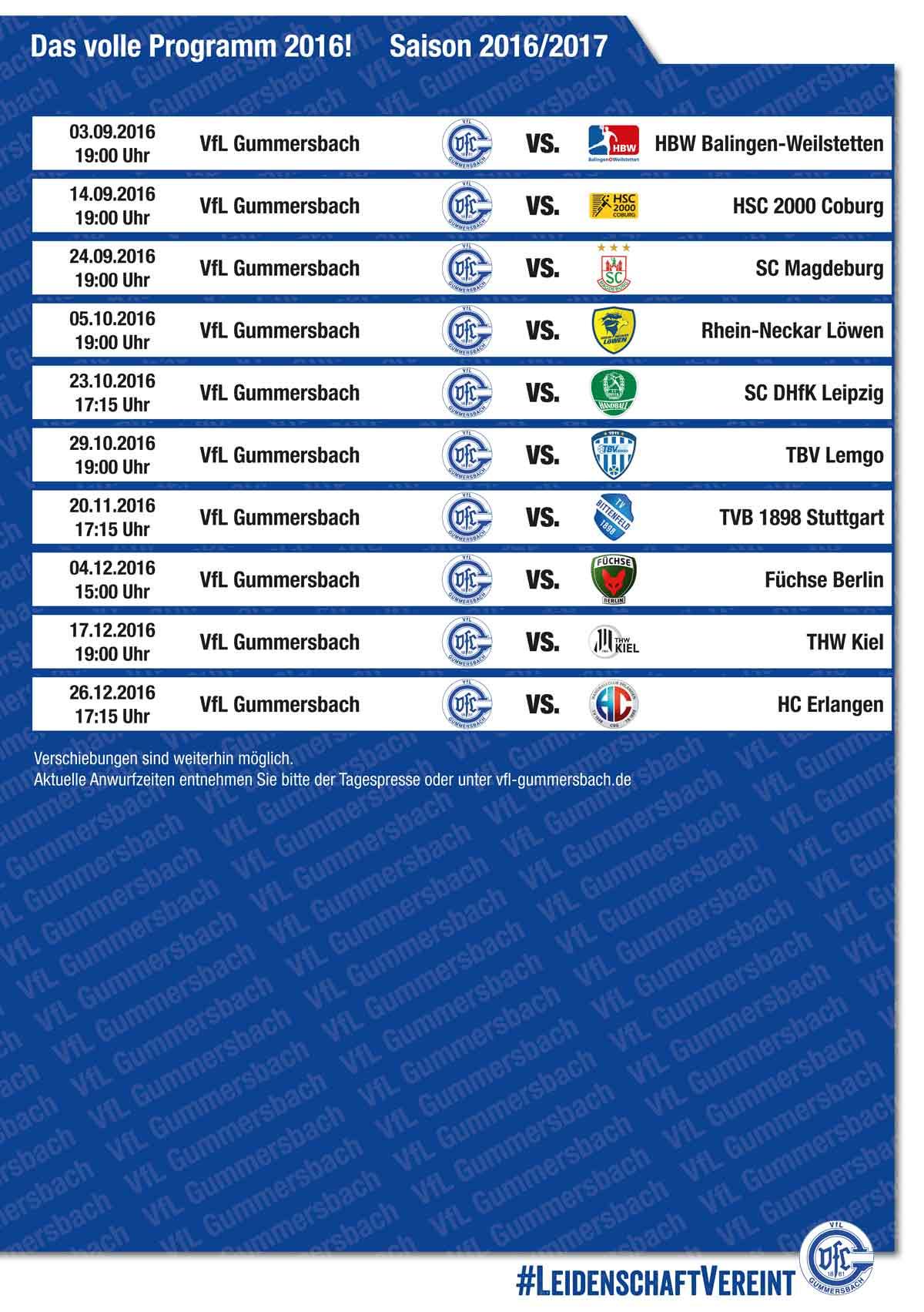 Spielplan Vfl Gummersbach